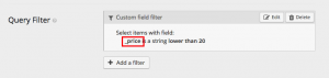 Using hidden fields in query filters