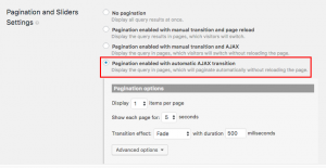 Automatic AJAX pagination settings