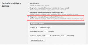 Automatic AJAX pagination settings