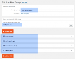 Adding group of custom fields