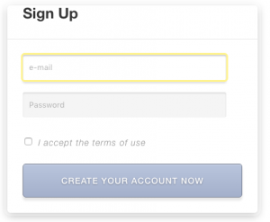 Example of a User Form on the front-end for creating a user account