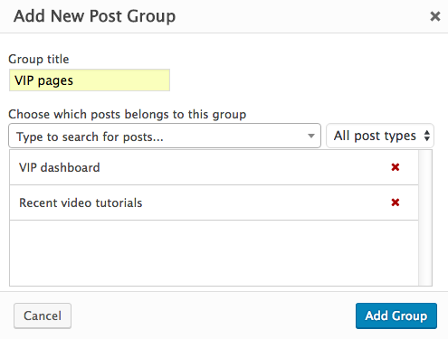 Adding new Post Group