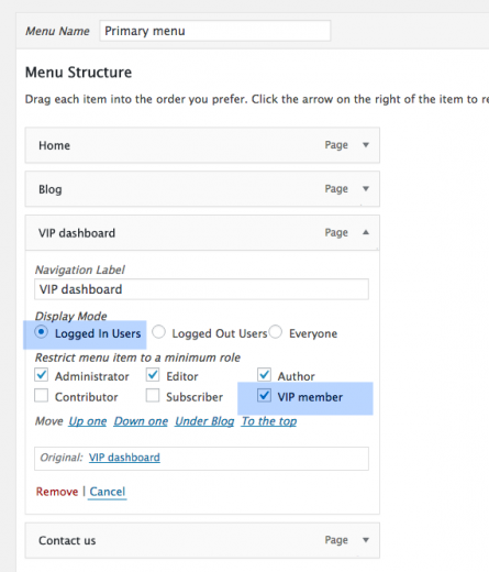 Excluding pages from the navigation with the Nav Menu Role plugin