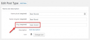 """Slug of the """"Beer Brands"""" on the custom post type editing page"""