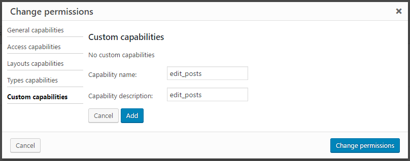 "Adding a custom capability ""edit_posts"""