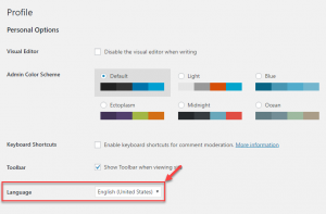 Setting a user's WordPress administration language on the profile editing page