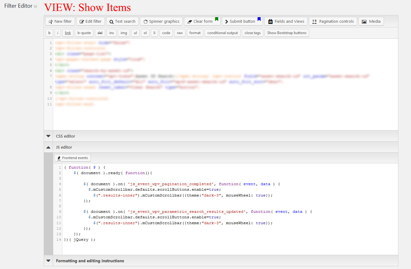 JS Frontend Events after pagination and search   Toolset