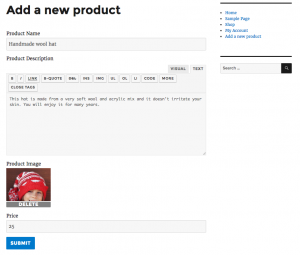 Form on the front-end for creating a new product