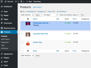 The newly-created product, in the WordPress back-end