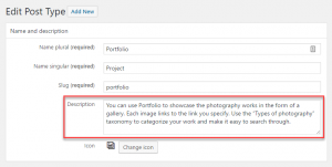 Description field on the Toolset custom post type editing page