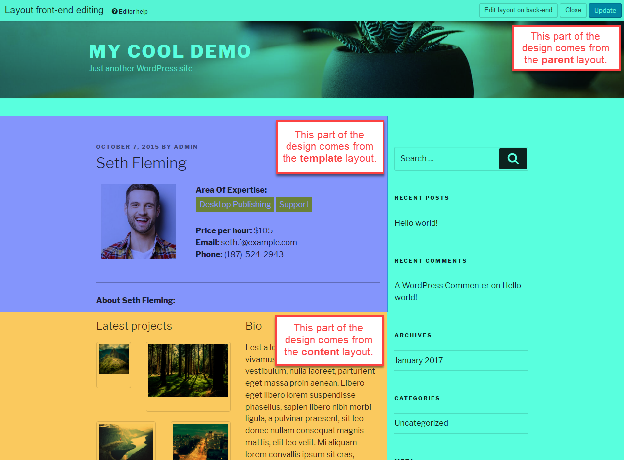 Front-end editing with Toolset