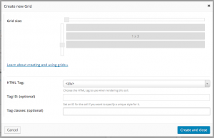 Layouts Grid of cells Dialog