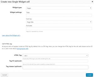 Single Widget cell dialog