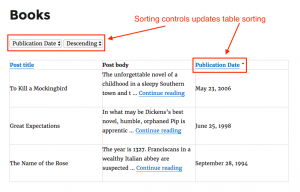 Front-end sorting controls in combination with sortable table