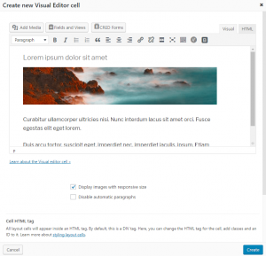 Visual Editor Cell