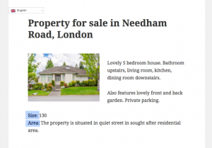 Single house page displayed with a Content Template - English (the site primary language).