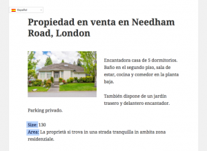 Single house page displayed with a Content Template - Spanish. The content displays in the proper language except for the field labels.