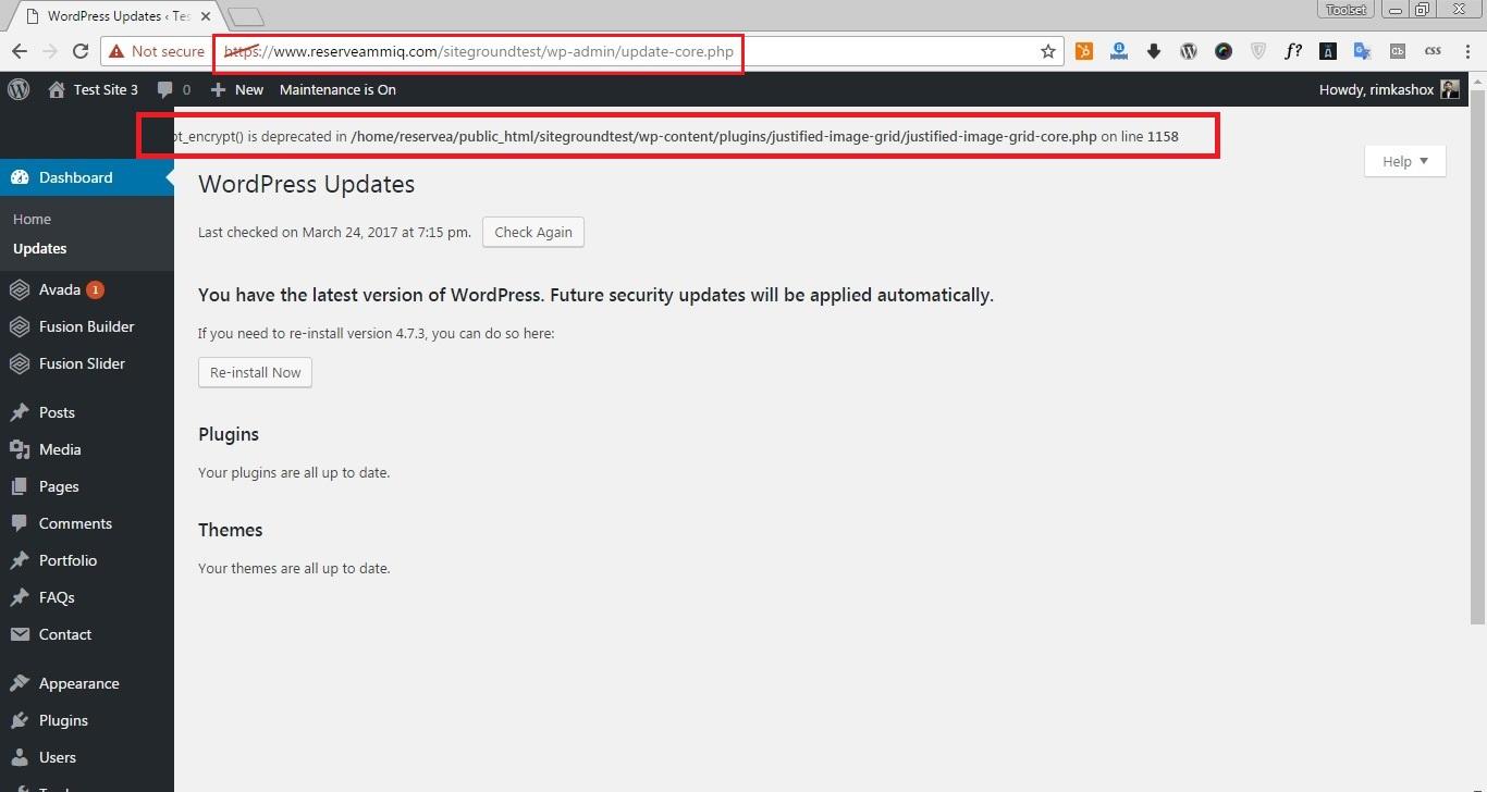 PHP Deprecated error.jpg