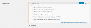 Options for filtering by post parent