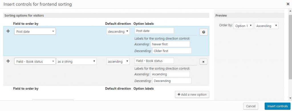 The sorting controls dialog box