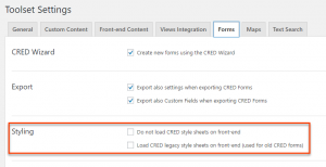 New CRED settings for selecting which stylesheets are loaded on the front-end