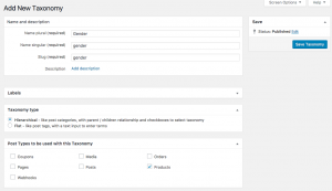 Adding new custom taxonomy to products