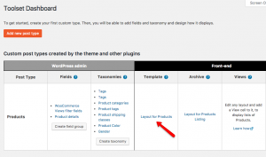 Opening the default product template for editing