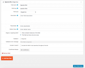 Setting up a new product field