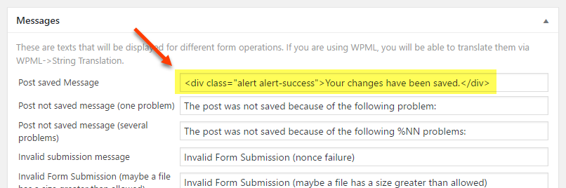Custom HTML markup added to the form's success message
