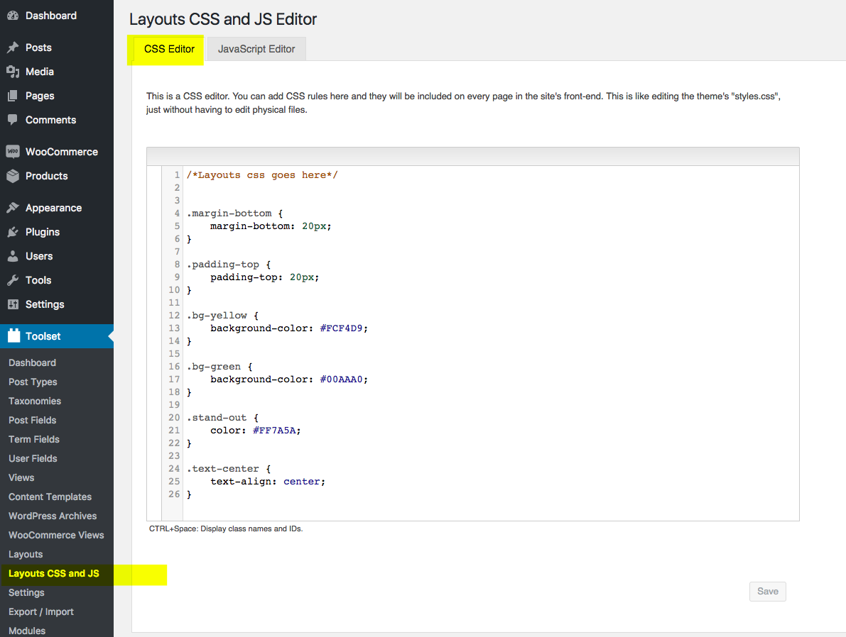 Layouts CSS and JS Editor - Toolset