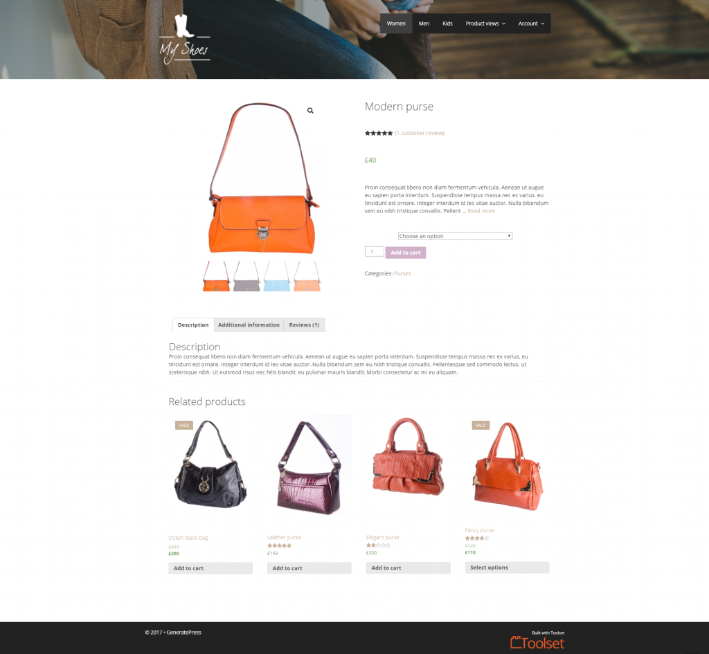 A custom WooCommerce site built with Toolset and GeneratePress