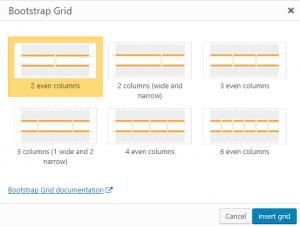 Grid insertion dialog box