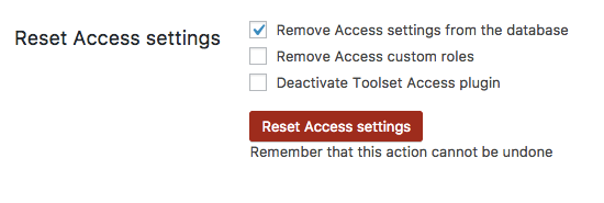 Remove Access settings option