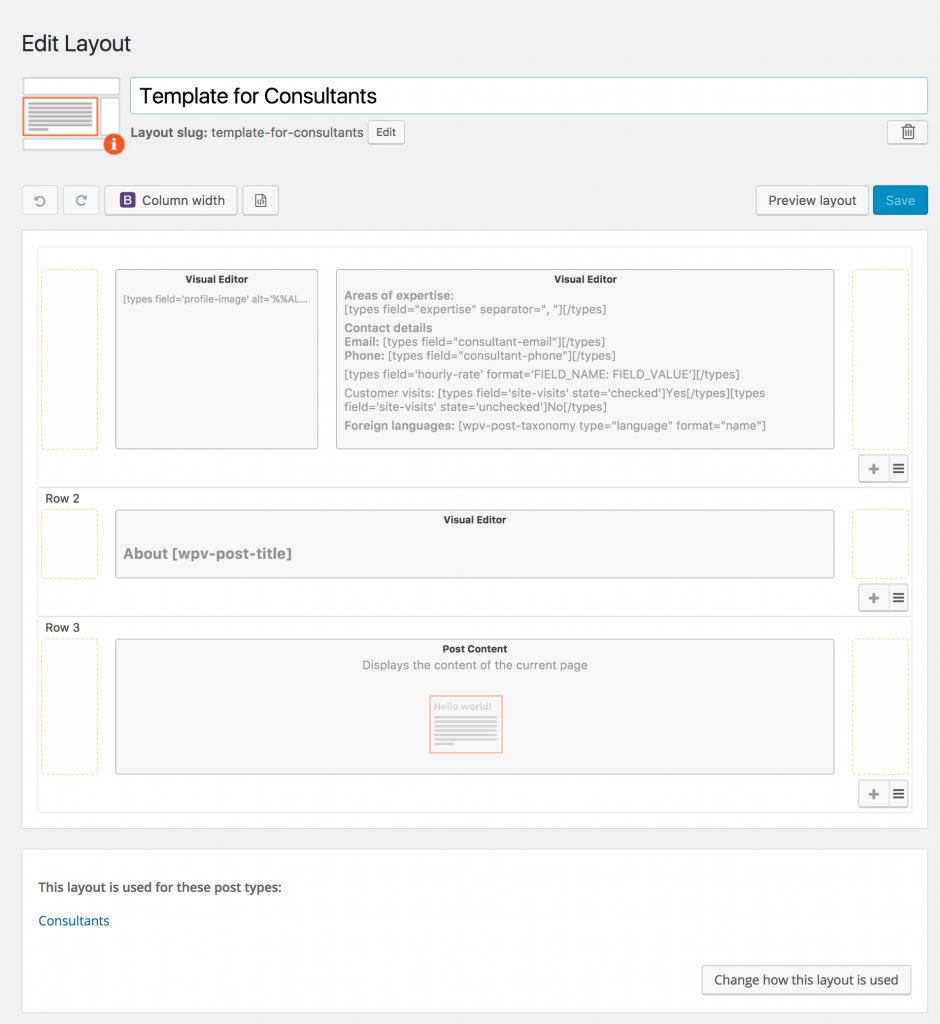 Screenshot of Consultant Template Layout