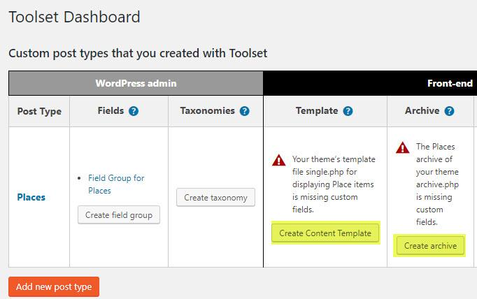 Creating a template or archive using the Toolset Dashboard page
