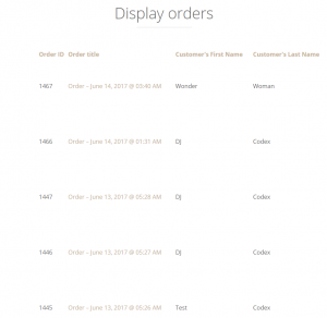 List of orders on the front-end