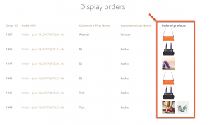 List of Orders that displays the related ordered Products