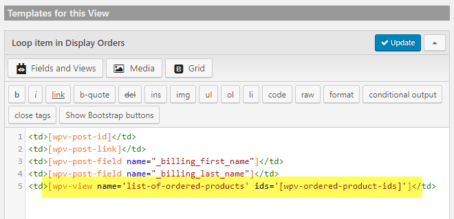 """""""List of Ordered Products"""" View shortcode with an """"ids"""" argument"""