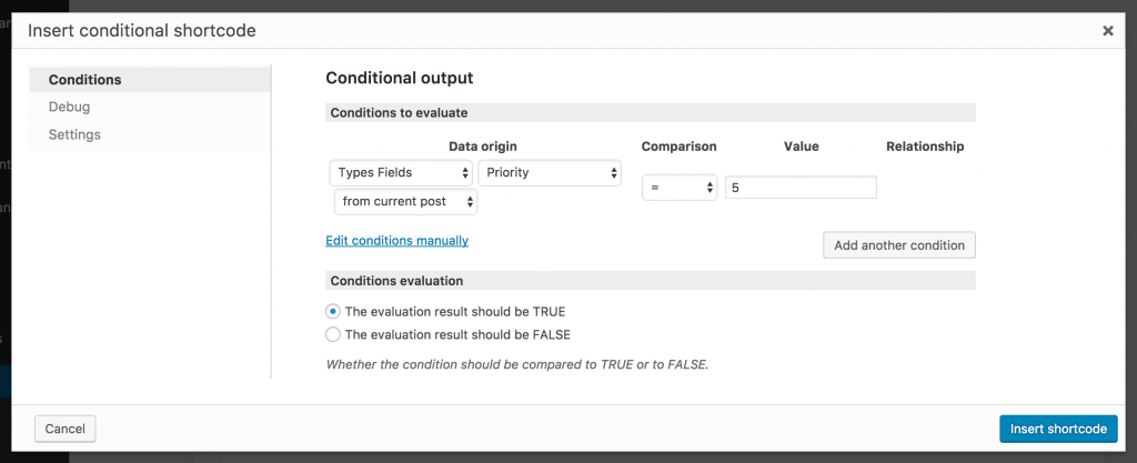 Dialog to insert conditional test for priority field