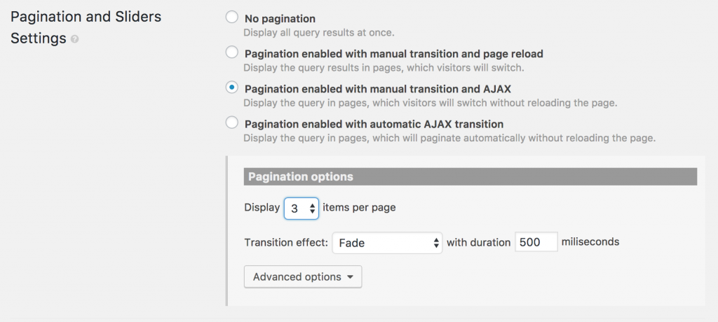 Settings dialog for pagination