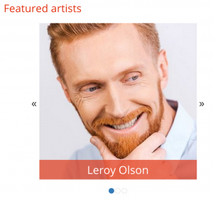 Snapshot of the finished featured artist slider
