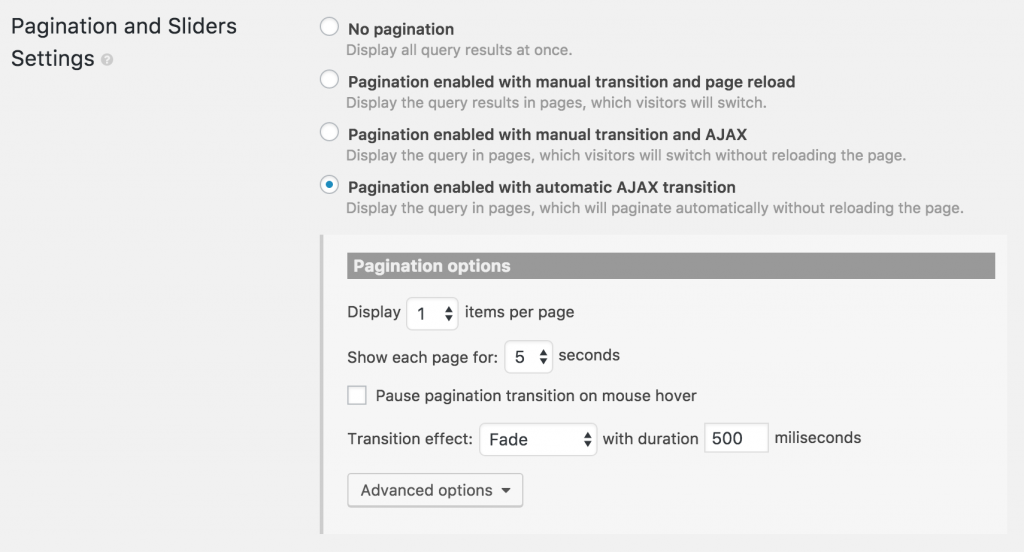 Pagination and slider settings section
