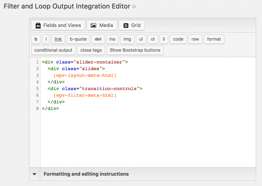Screenshot of Filter and Loop Output integration editor