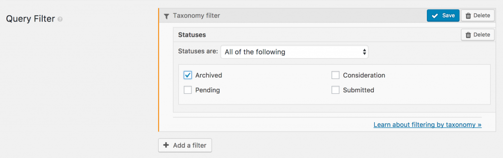 UI for inserting taxonomy filter with fixed term