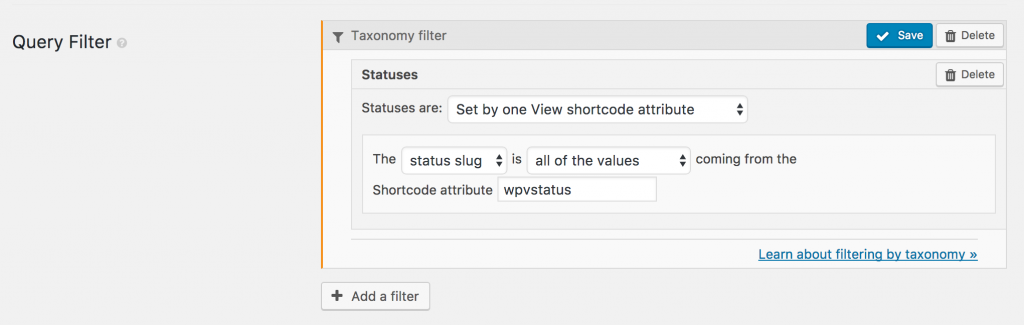 UI to insert taxonomy filter with shortcode attribute