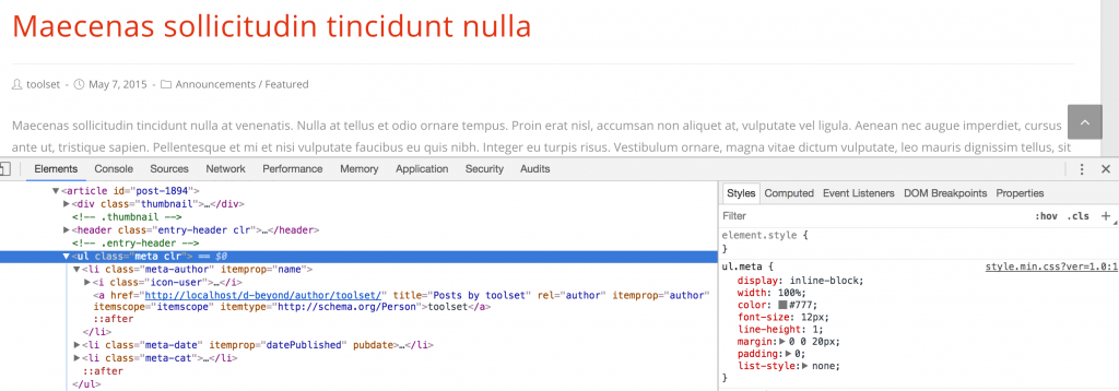 Using the browser inspector to study existing markup