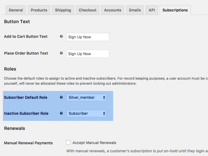 WooCommerce Subscriptions - Subscription tab