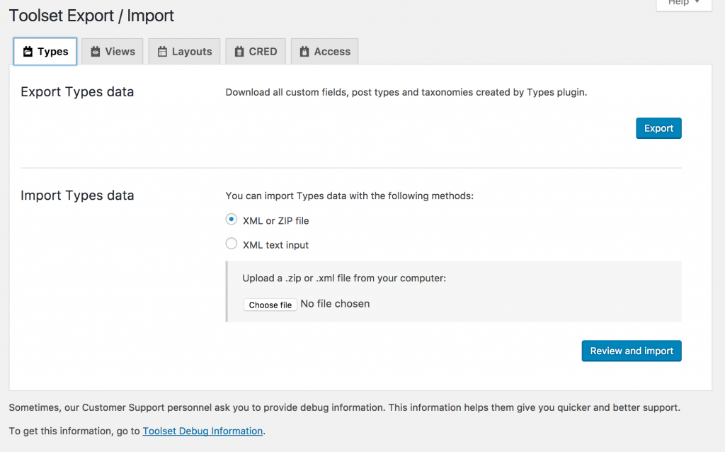 Screenshot of export & import settings