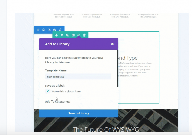 Using Divi library for regular posts and pages