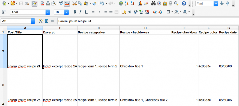 Example CSV file